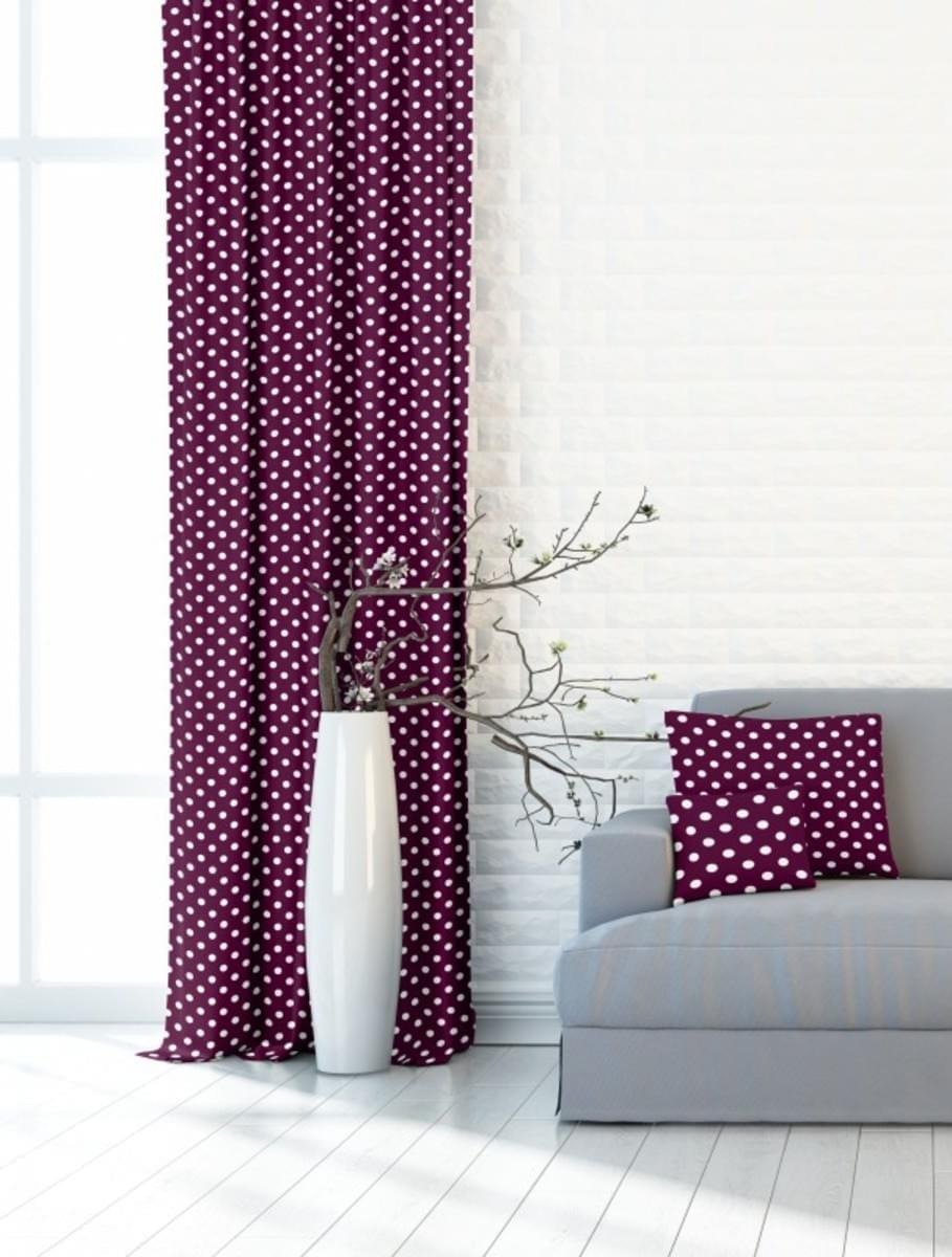 Forbyt, Závěs dekorační, OXY Tečky 150 cm, vínový