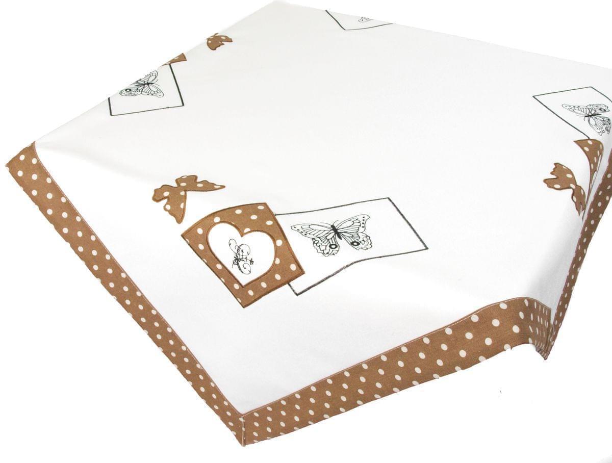 Forbyt, Ubrus vyšívaný, Motýl a tečky, hnědý 40 x 90 cm
