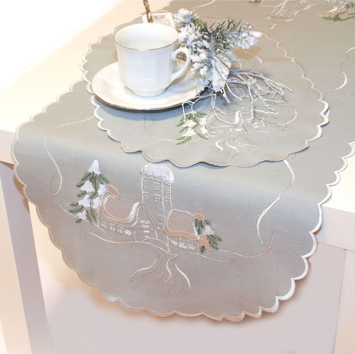 Forbyt Vánoční ubrus chaloupky šedá, 40 x 90 cm, 40 x 90 cm 30 x 45 cm