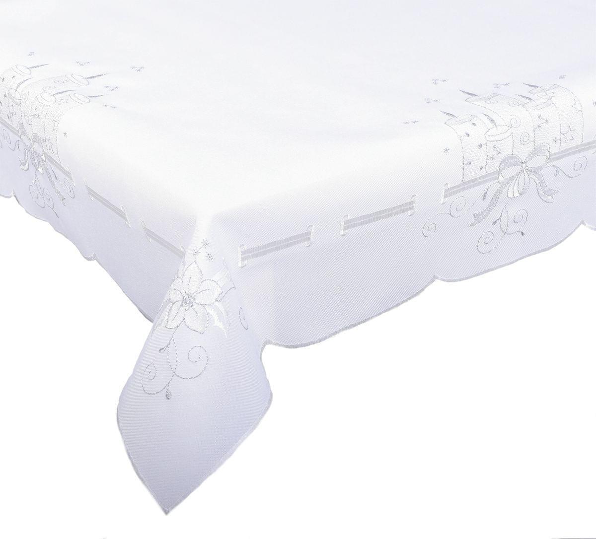 Forbyt, Ubrus vánoční, Stříbrné svíčky 18, bílá pr.35 cm
