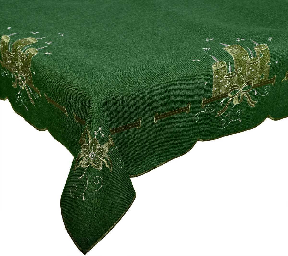 Forbyt, Ubrus vánoční, Zelené svíčky 18, zelený 120 x 140cm