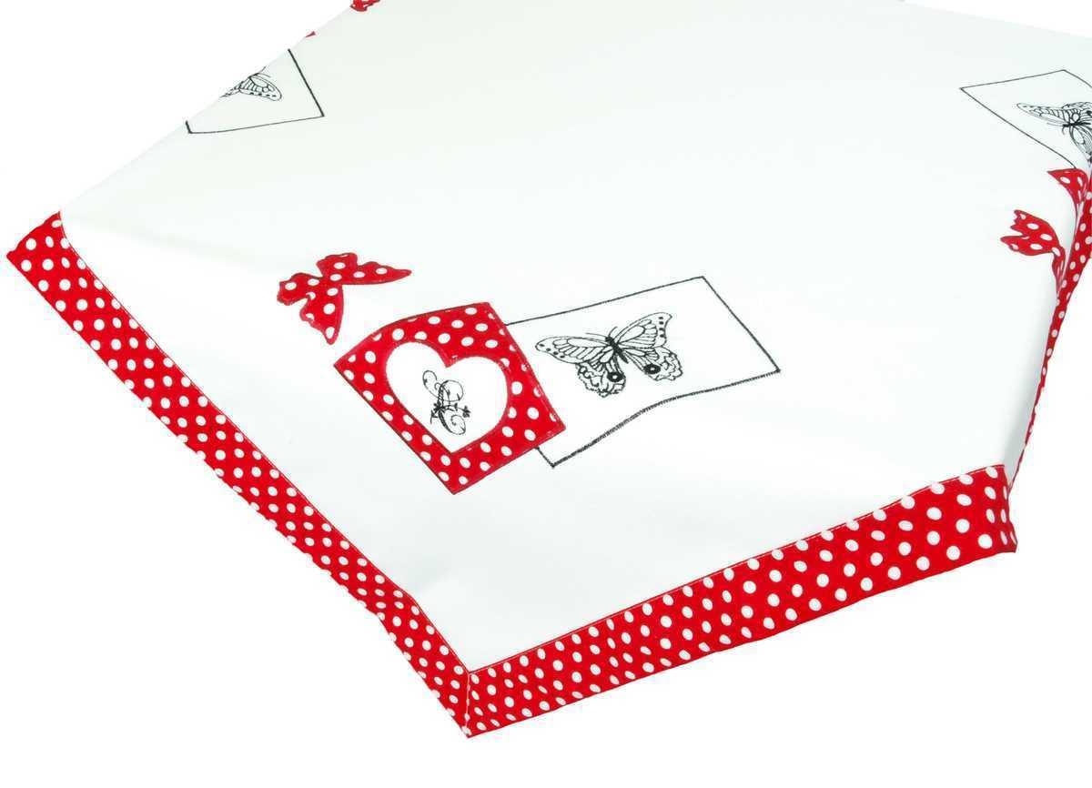 Forbyt, Ubrus vyšívaný, Motýl a tečky, červený 40 x 90 cm