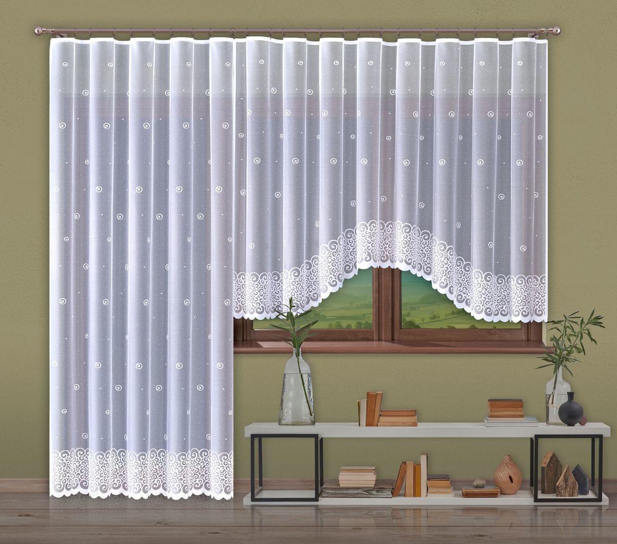 Forbyt, Hotová záclona nebo balkonový komplet, Helix, bílá 300 x 150 cm