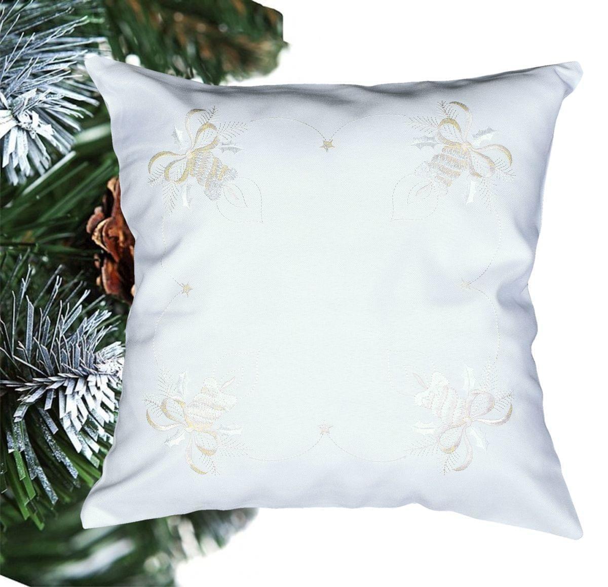 Forbyt, Návlek na polštář, Vánoční svíčky, bílý , 40 x 40 cm