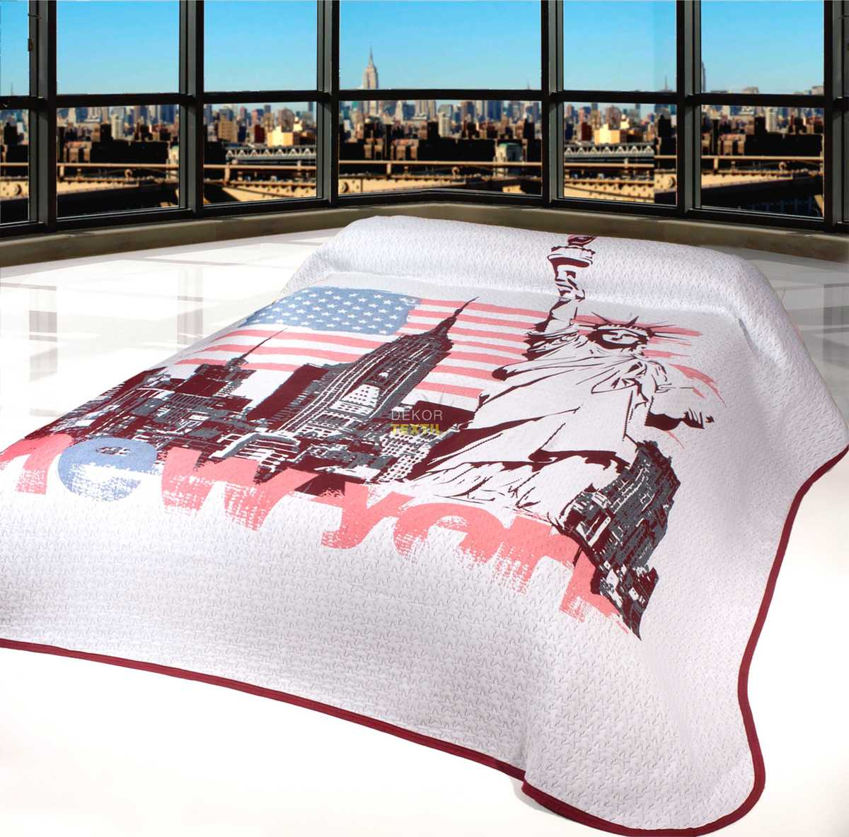 Forbyt, Přehoz na postel, New York, bordový 140 x 220 cm