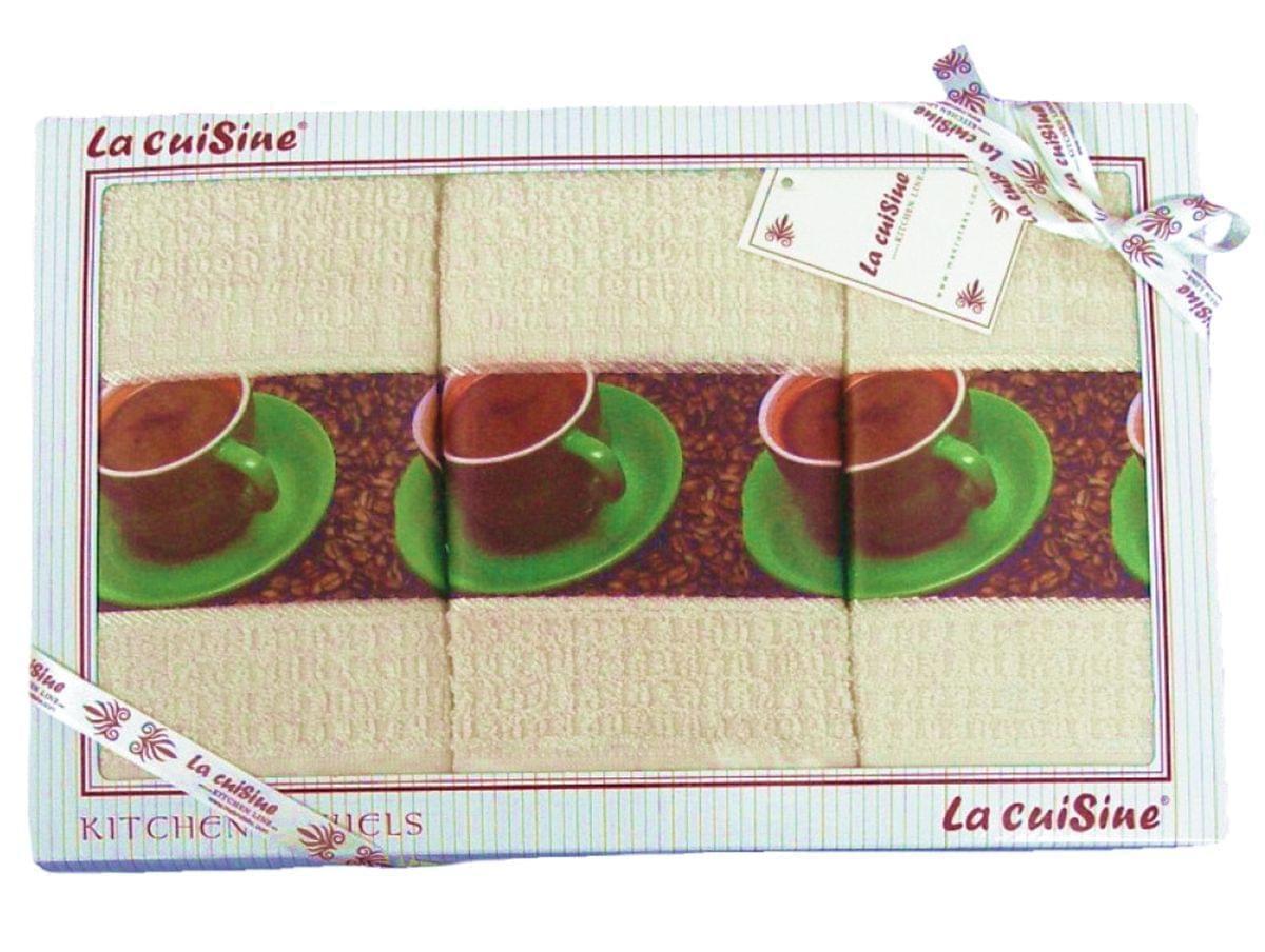 Forbyt, Dárkové balení 3 ks bavlněných utěrek, Cuisine Zelený šálek, smetanové, 50 x 70 cm