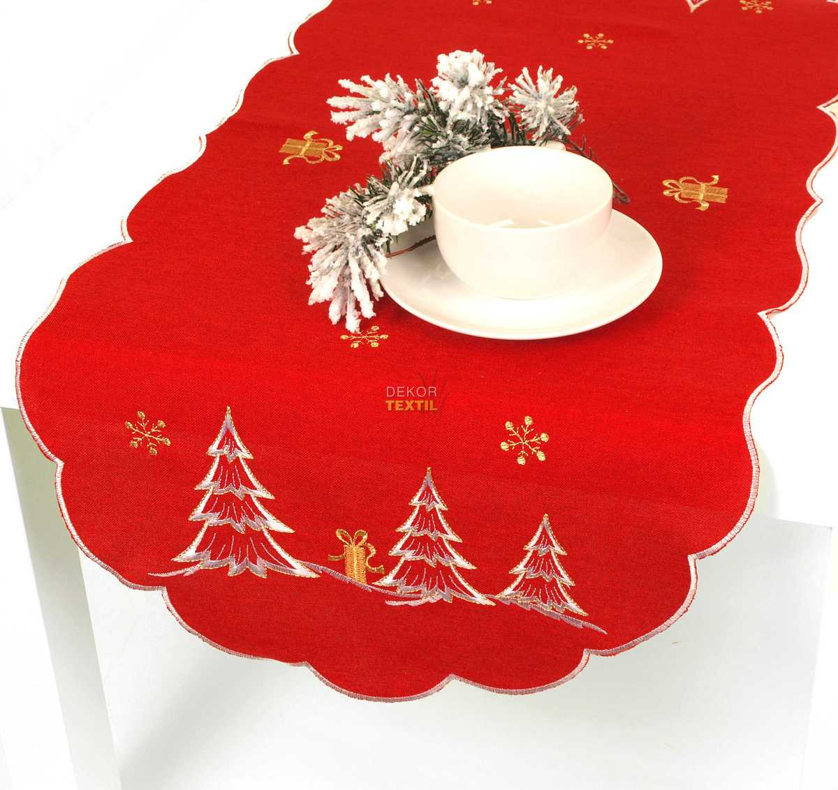Forbyt, Ubrus vánoční, Stromečky, červený, 40 x 90 cm 120 x 140cm