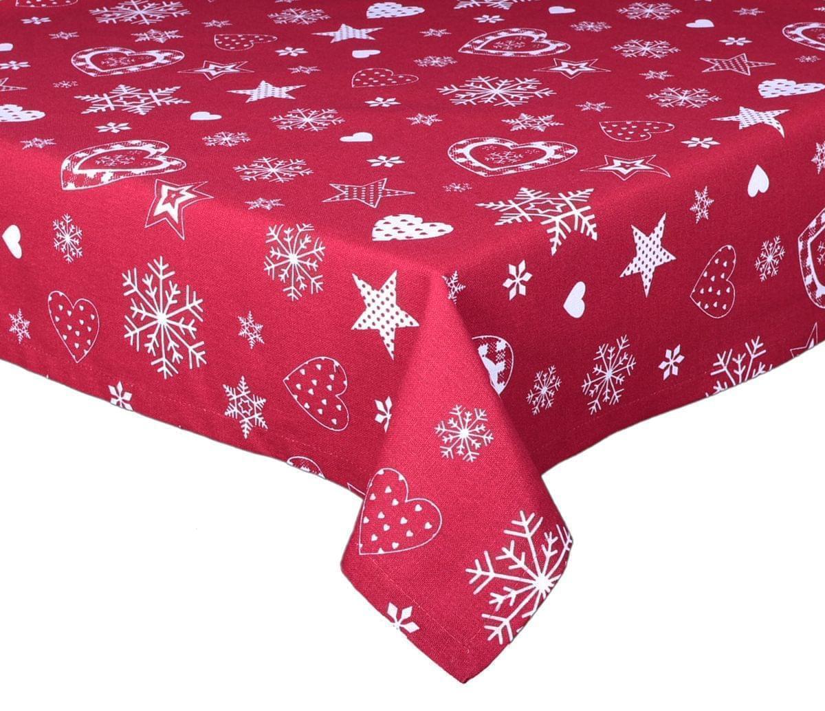 Forbyt, Ubrus bavlněný, Vánoční srdce, červený 120 x 140cm