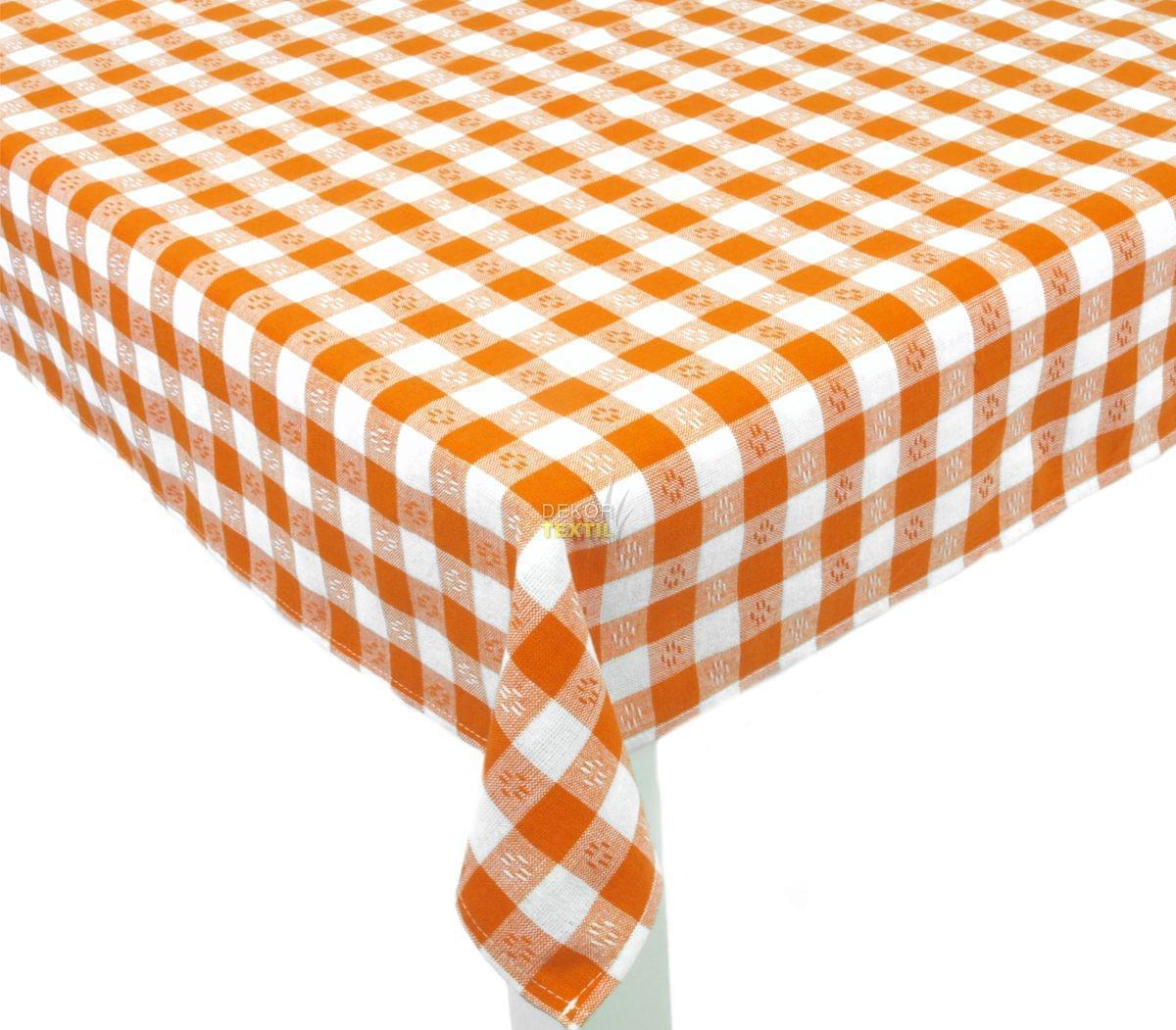 Forbyt, Ubrus bavlněný, Vintage káro, oranžový 140 x 180 cm