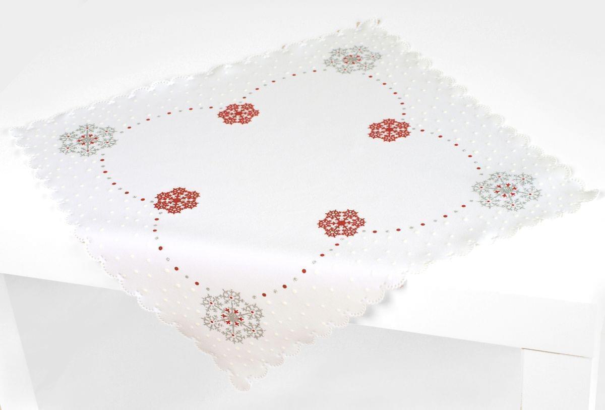 Forbyt, Ubrus vánoční, Vánoční vločka, červený, čtverec 85 x 85 cm