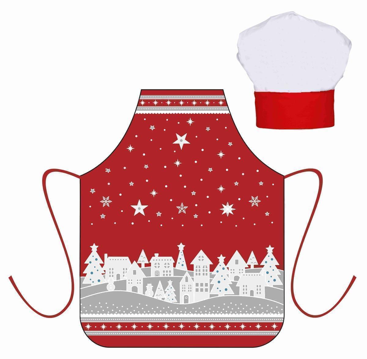 Forbyt, Zástěra dětská s kuchyňskou čepicí, Zimní vesnička, červená