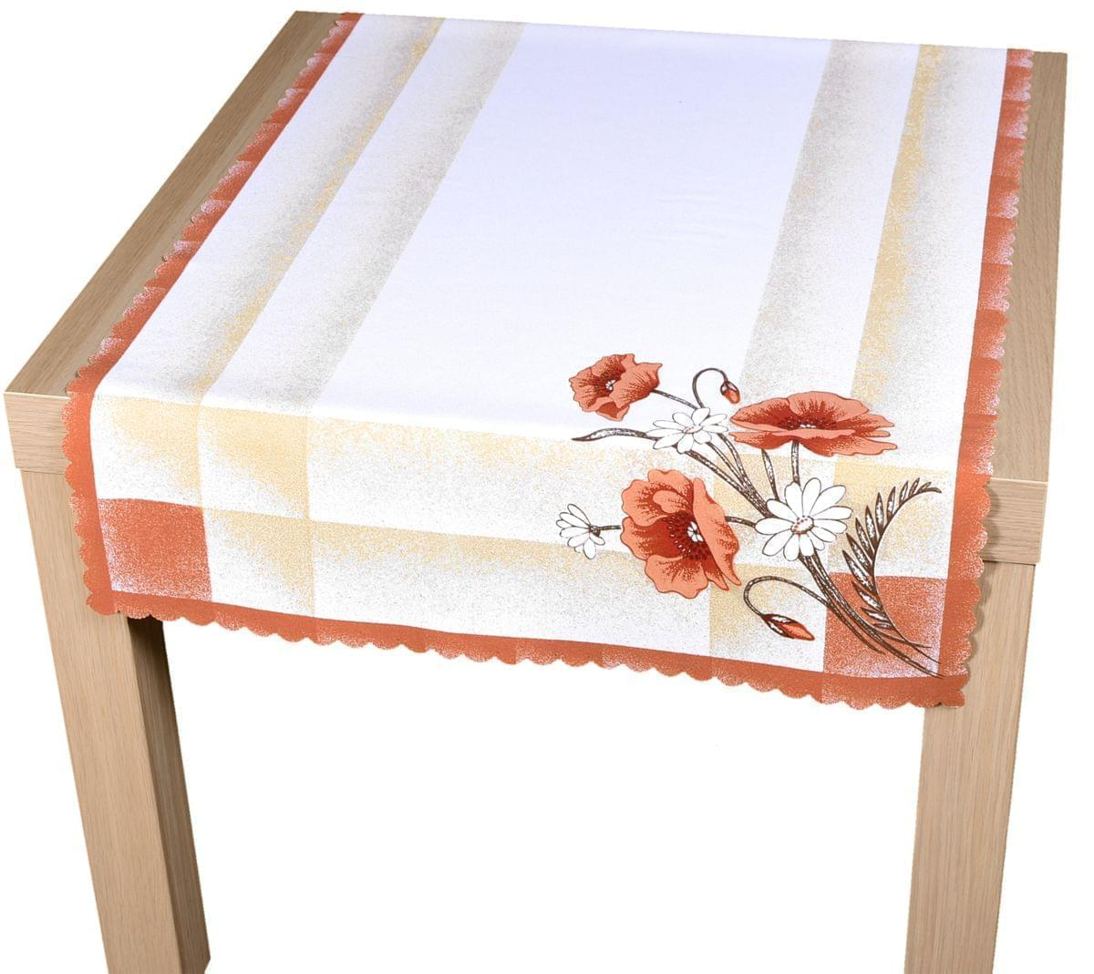 Forbyt, Ubrus, Máky, teracota s bílým, 50 x 100 cm