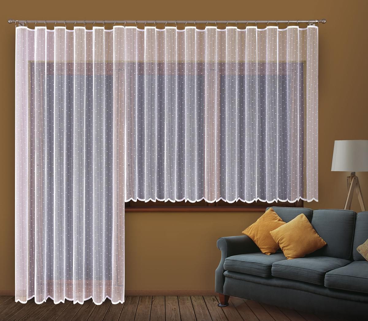 Forbyt, Hotová záclona nebo balkonový komplet, Dora, bílá 400 x 160 cm