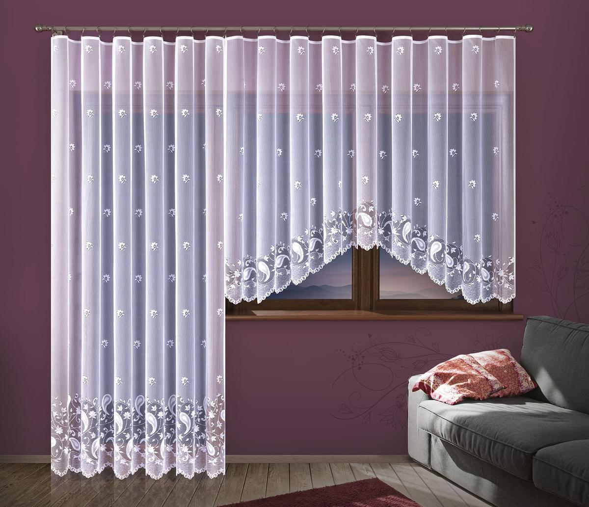 Forbyt, Hotová záclona nebo balkonový komplet, Kristýna, bílá 200 x 250 cm