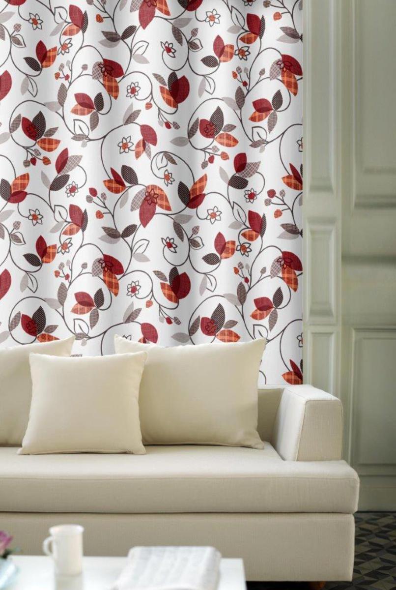 Forbyt, Závěs dekorační, OXY Listy červené 150 cm