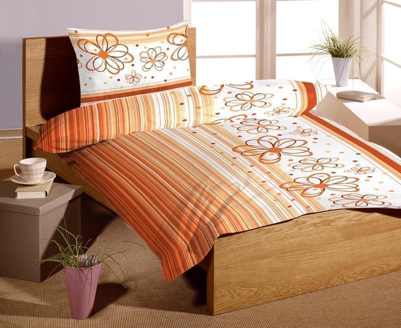 Forbyt Povlečení bavlna exklusive SATÉN Florida orange 140 x 200 cm + 70 x 90 cm
