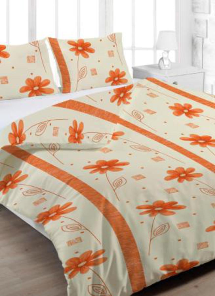 Forbyt, Povlečení bavlněné, Margarita oranžová, 140 x 200/70 x 90 cm 140 x 200 cm + 70 x 90 cm