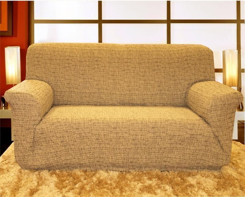 Forbyt, Potah elastický na sedací soupravu, Andrea, hnědo-smetanová křeslo - š. 60 - 110 cm