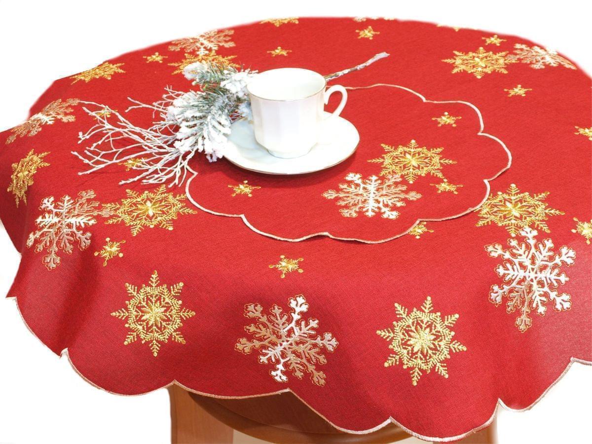 Forbyt, Ubrus vánoční, Vánoční vločka červená, kulatý pr. 90 cm