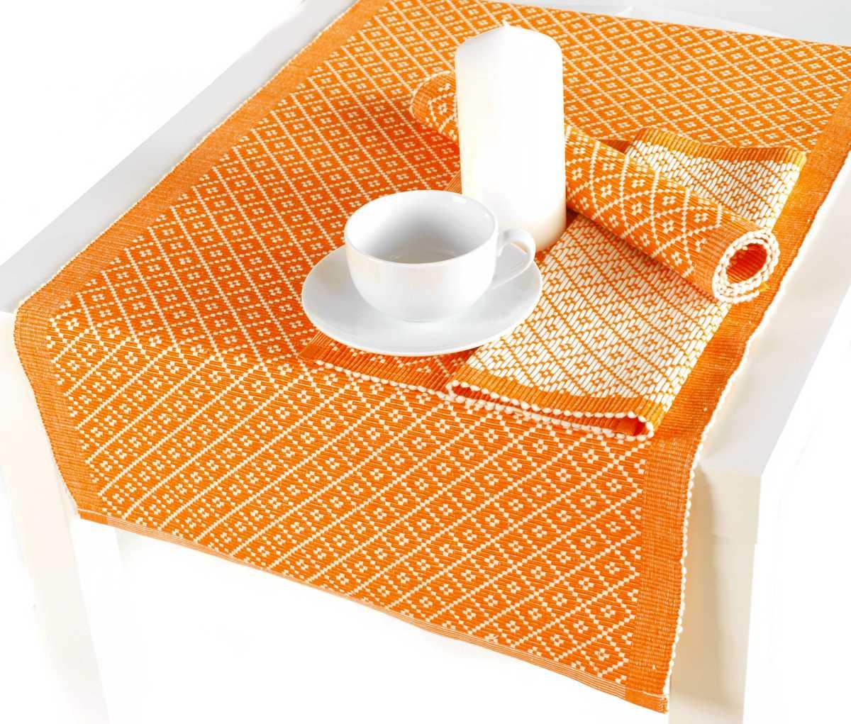 Forbyt, Prostírání bavlněné, Kostičky, obdélník, oranžová 45 x 120 cm