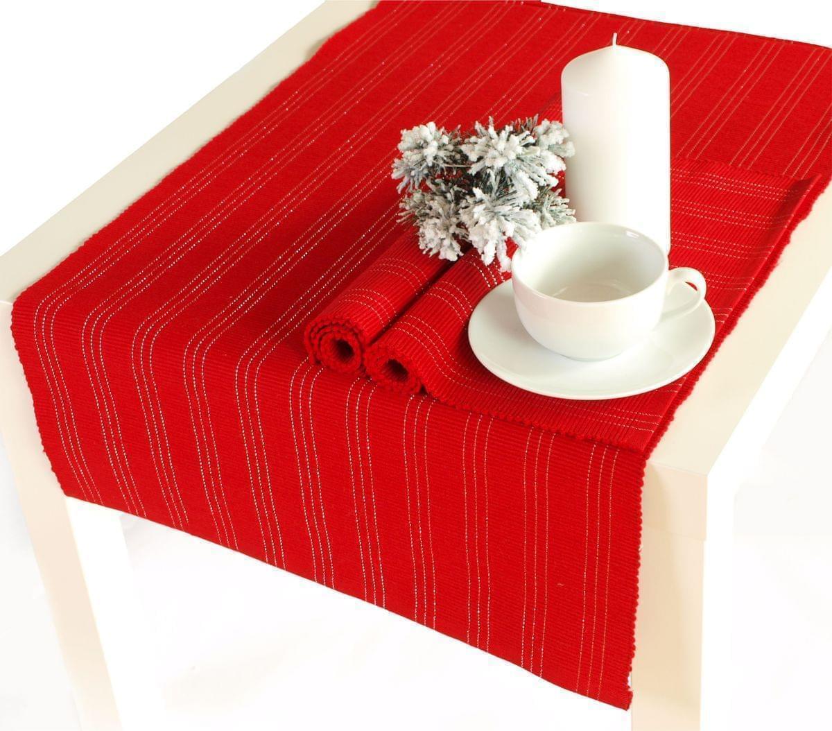 Forbyt, Prostírání bavlněné, Proužky, obdélník, červená 40 x 120 cm