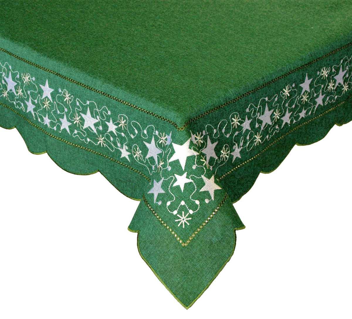 Forbyt, Vánoční ubrus, Stříbrná hvězda, zelený 120 x 140cm