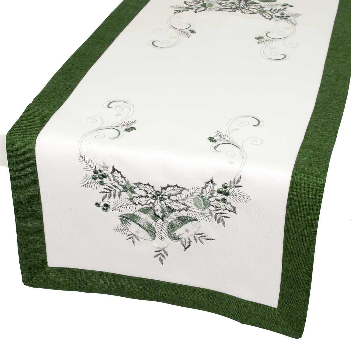 Forbyt, Vánoční ubrus, Zvonky s lemem, zelený, obdélník 35 x 160 cm