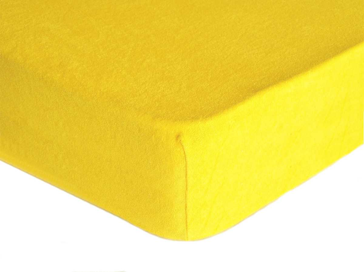 Forbyt, Prostěradlo, Froté Premium, žluté 90 x 200 cm