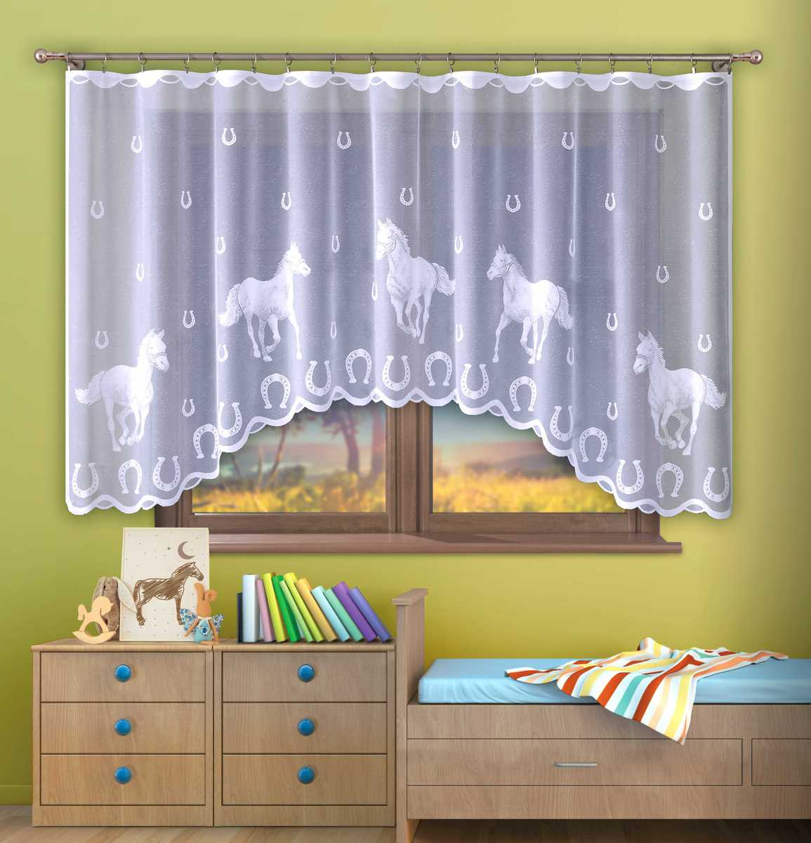 Forbyt, Hotová záclona, Koně bílé, 300 x 150 cm 300 x 150 cm