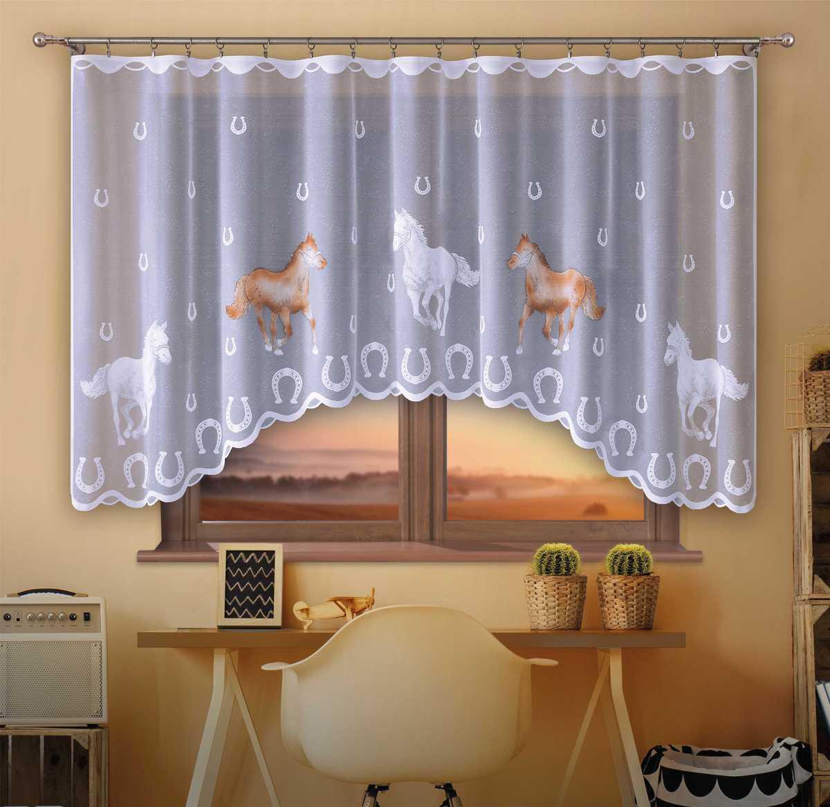 Forbyt, Hotová záclona, Koně hnědé, 300 x 150 cm 300 x 150 cm
