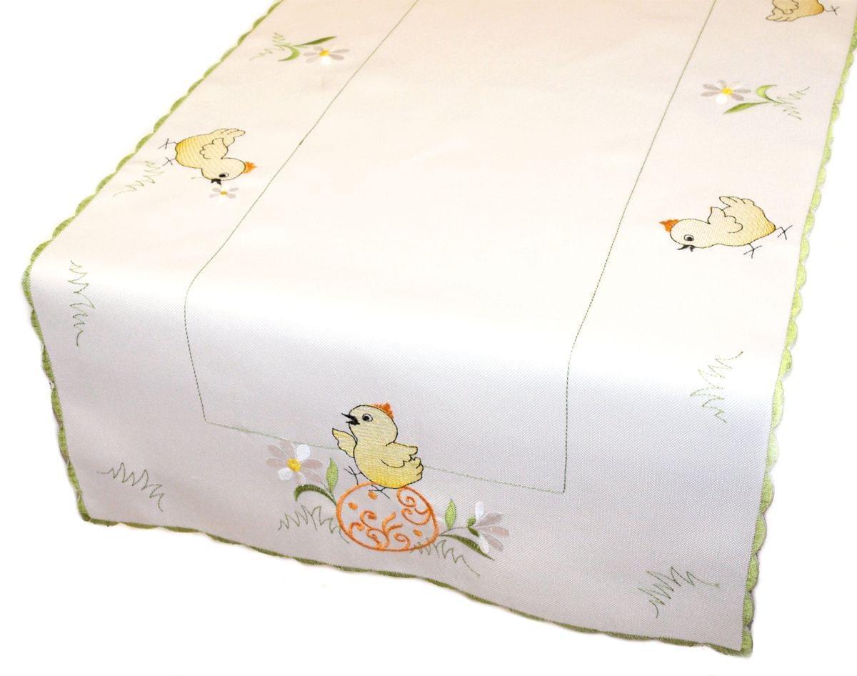 Forbyt, Ubrus velikonoční, Kuřátka 015 bílý, obdélník 35 x 160 cm