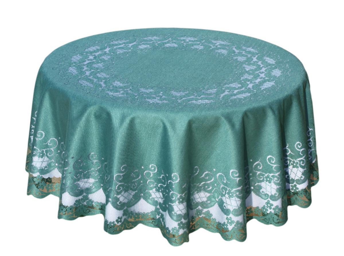 Forbyt, Ubrus, žakárový Felicia, zelený, kulatý, ovál pr. 158 cm