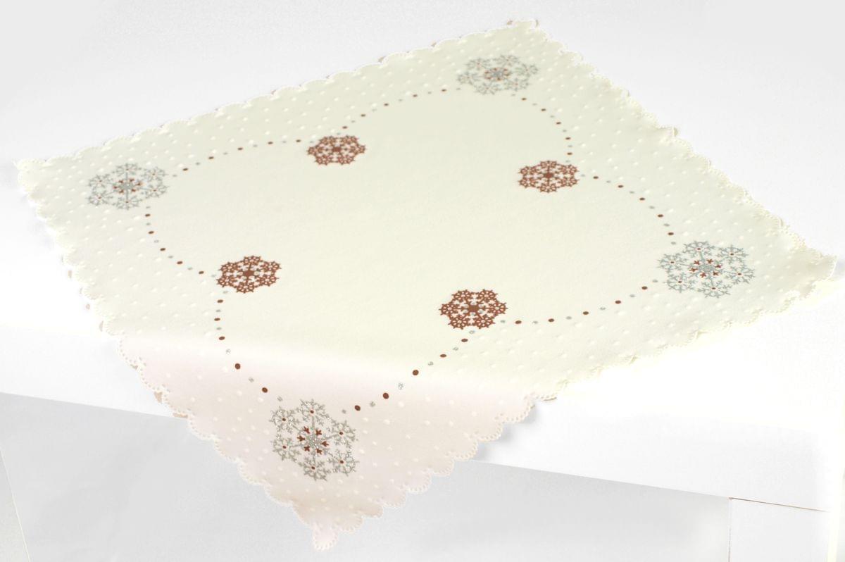 Forbyt, Ubrus vánoční, Vánoční vločka, hnědý, čtverec 85 x 85 cm