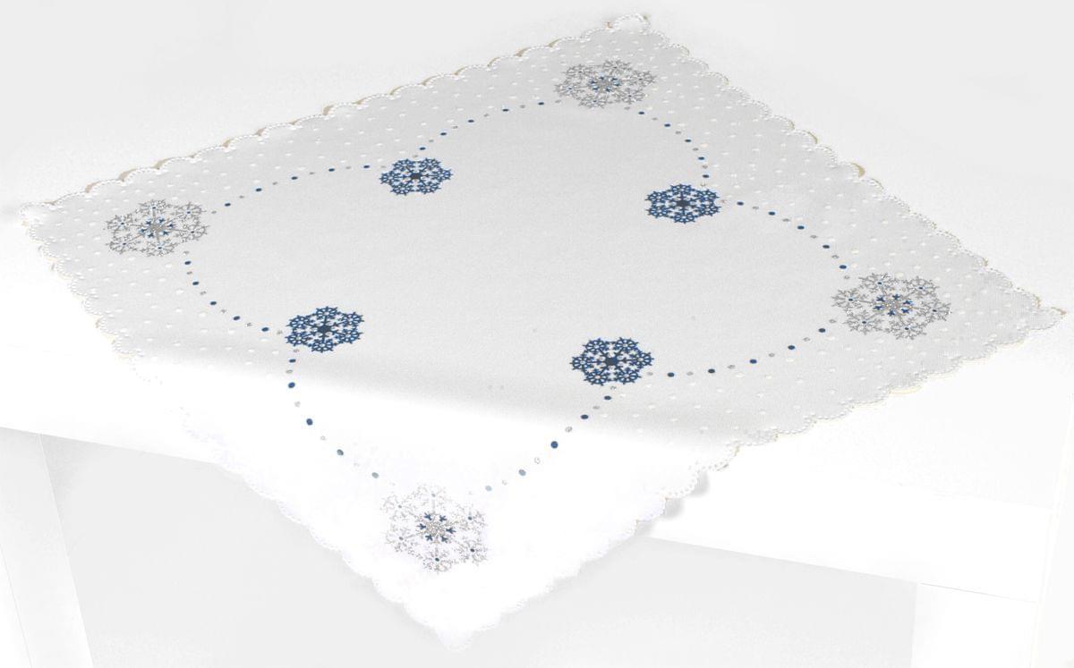 Forbyt, Ubrus vánoční, Vánoční vločka, modrý, čtverec 85 x 85 cm