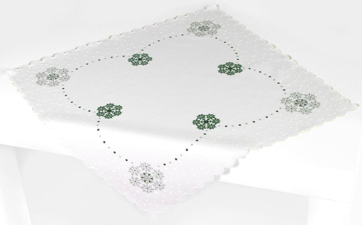 Forbyt, Ubrus vánoční, Vánoční vločka, zelený, čtverec 85 x 85 cm