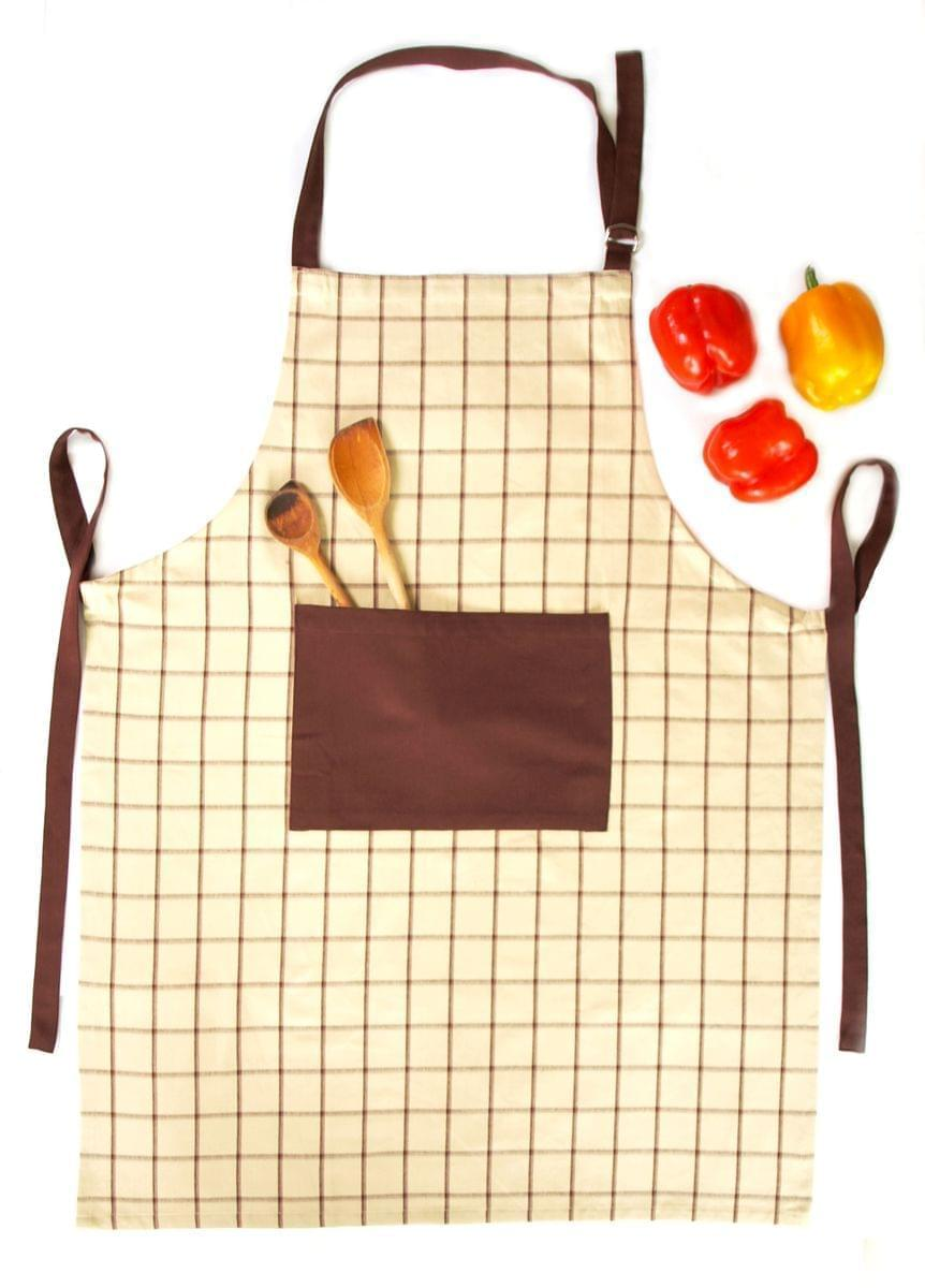 Forbyt, Zástěra kuchyňská, 1038 Káro hnědé s kapsou