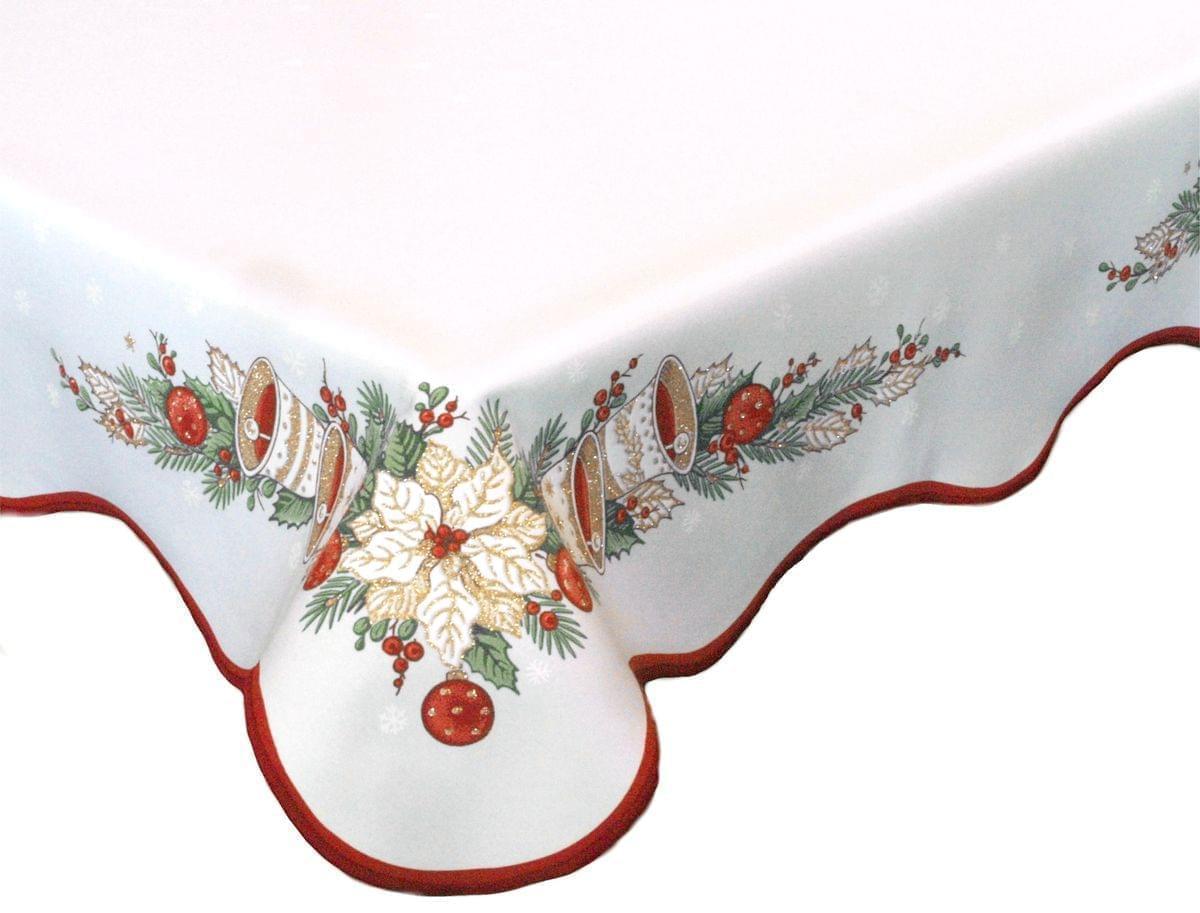 Forbyt, Ubrus vánoční, Zvonky, červený, čtverec 85 x 85 cm