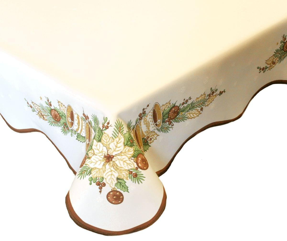 Forbyt, Ubrus vánoční, Zvonky, hnědý, čtverec 85 x 85 cm