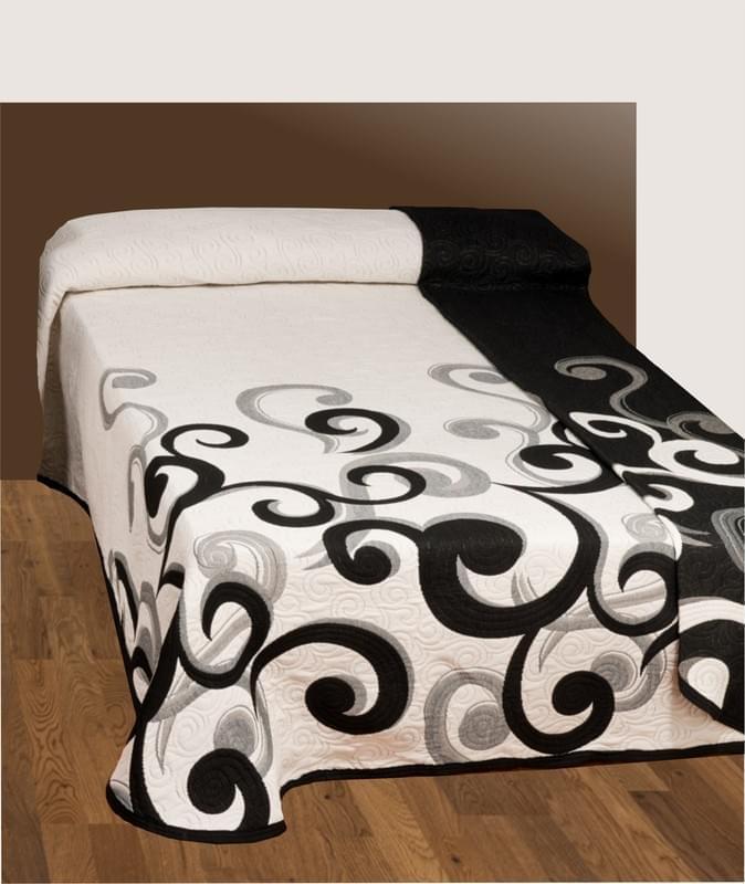 Forbyt Přehoz na postel s návleky, Gusano, černobílý 240 x 260 cm + 2 ks 40 x 40 cm