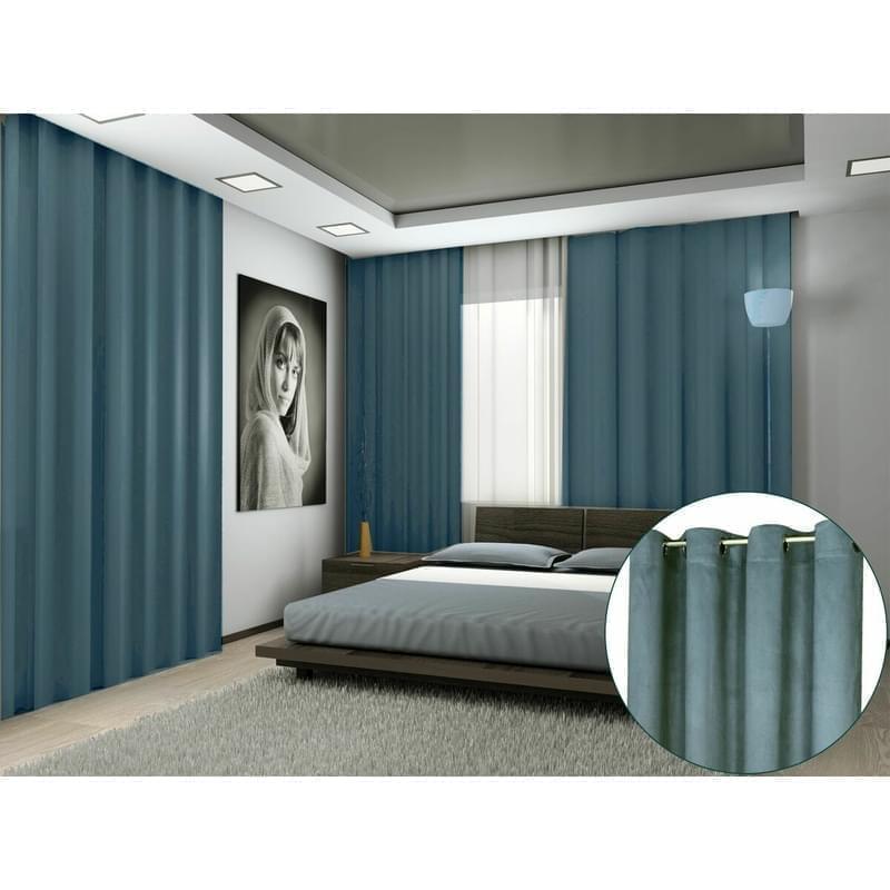 Forbyt, Hotový závěs s kroužky, Suedine, modrý, 140 x 240 cm