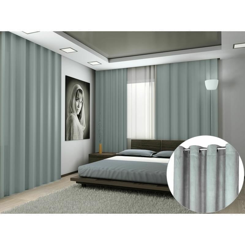 Forbyt, Hotový závěs s kroužky, Suedine, světle šedá, 140 x 240 cm