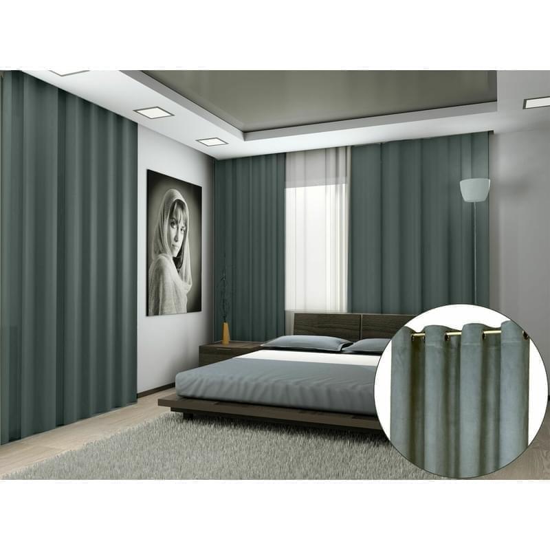 Forbyt, Hotový závěs s kroužky, Suedine, tmavě šedý, 140 x 240 cm