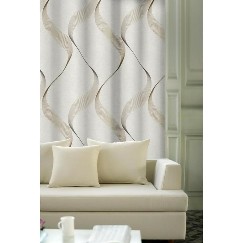 Forbyt, Výprodej Dekorační látky, OXY Vlnky 150 cm x 170 cm, hnědo béžové