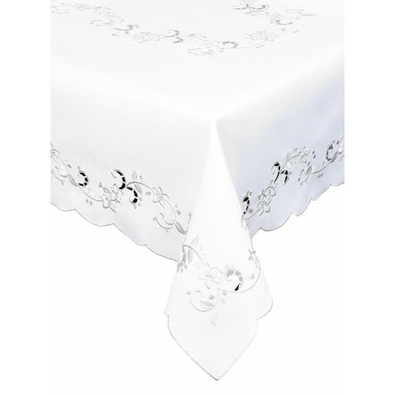 Ubrus celoroční, Elegantní květiny, bílý, 120 x 140 cm 120 x 140cm