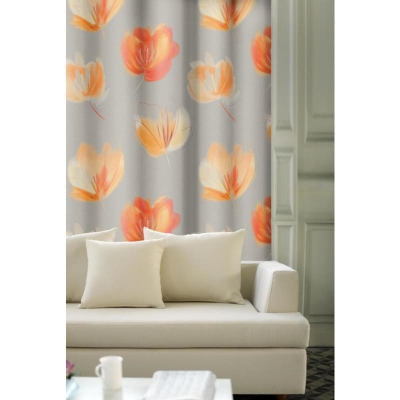 Závěs dekorační, OXY Květy 150 cm, oranžový