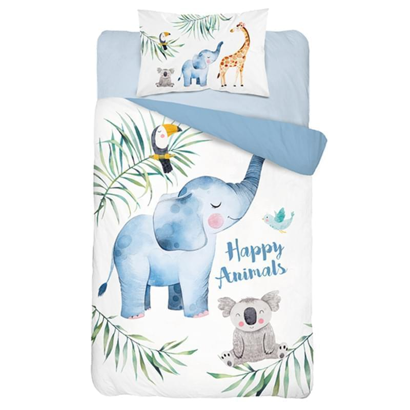 Bambusové dětské povlečení do postýlky, Slon a žirafa, modrý
