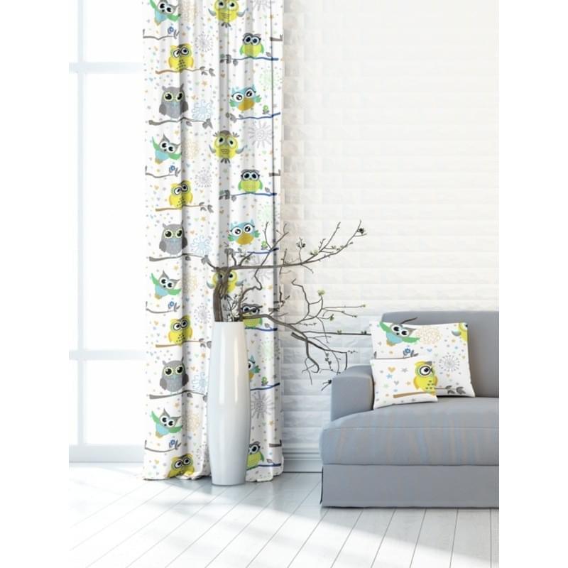 Forbyt, Závěs dekorační nebo látka, OXY Sovy, žlutomodrý, 150 cm