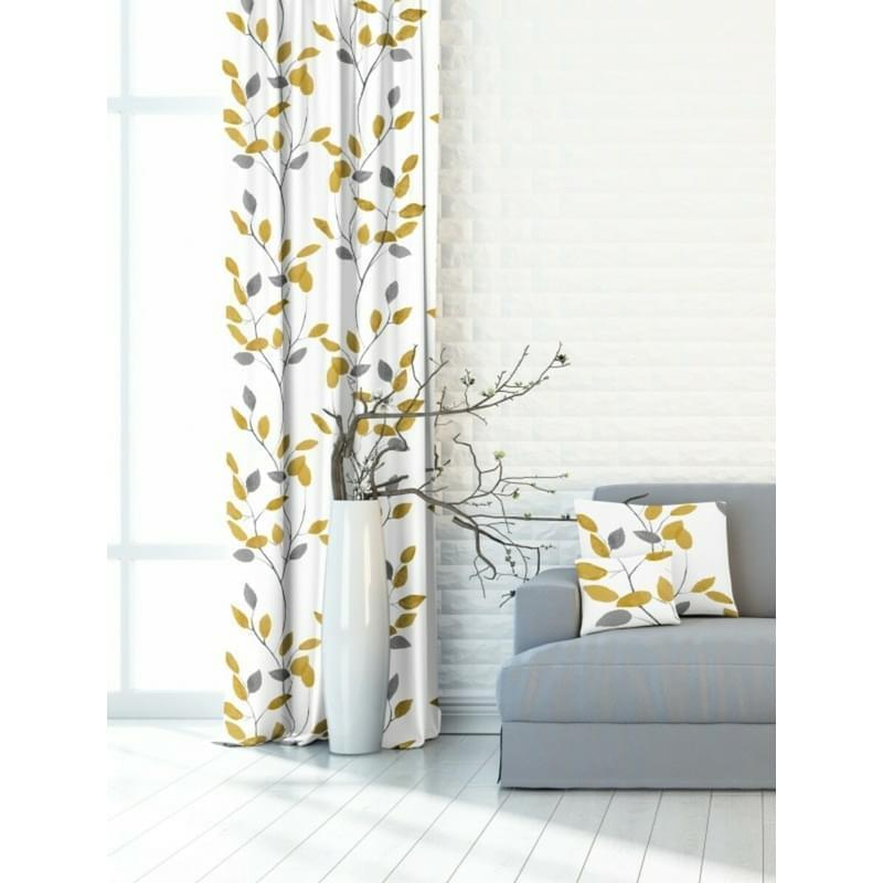 Závěs dekorační nebo látka, OXY Žlutošedé větvičky, šedožlutá, 150 cm
