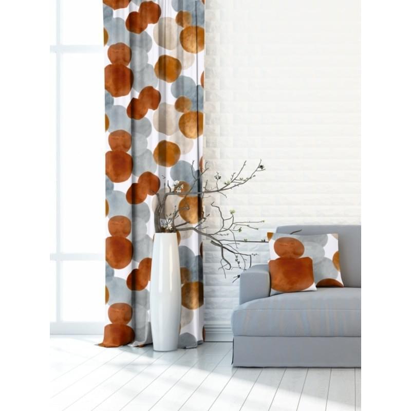 Forbyt, Závěs dekorační nebo látka, OXY Kruhy, okrové, 150 cm