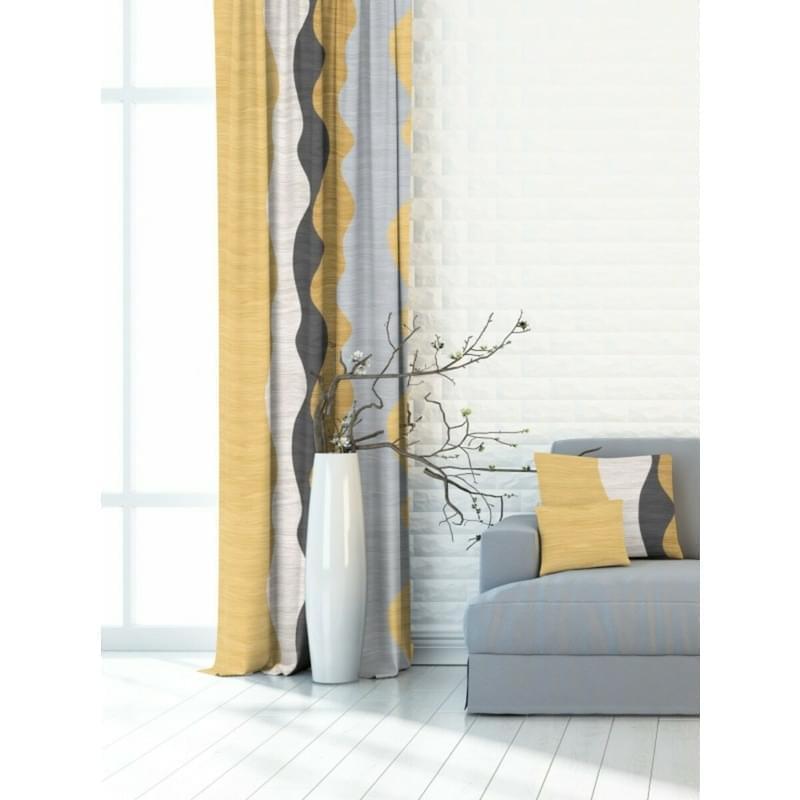 Forbyt, Dekorační látka nebo závěs, Blackout Vlnka jezera 150 cm, žlutošedá